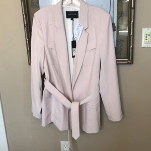 Blush Colored Belted Blazer